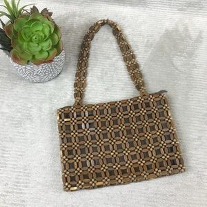 Vintage Wooden Bead Purse Handbag - lined, zipper